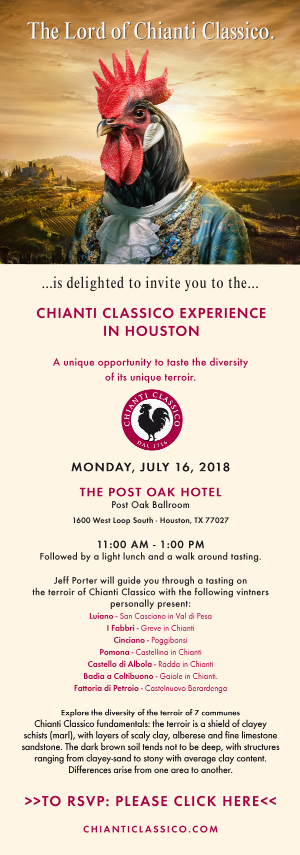 Invitation Chianti Classico Experience Houston 16JUL