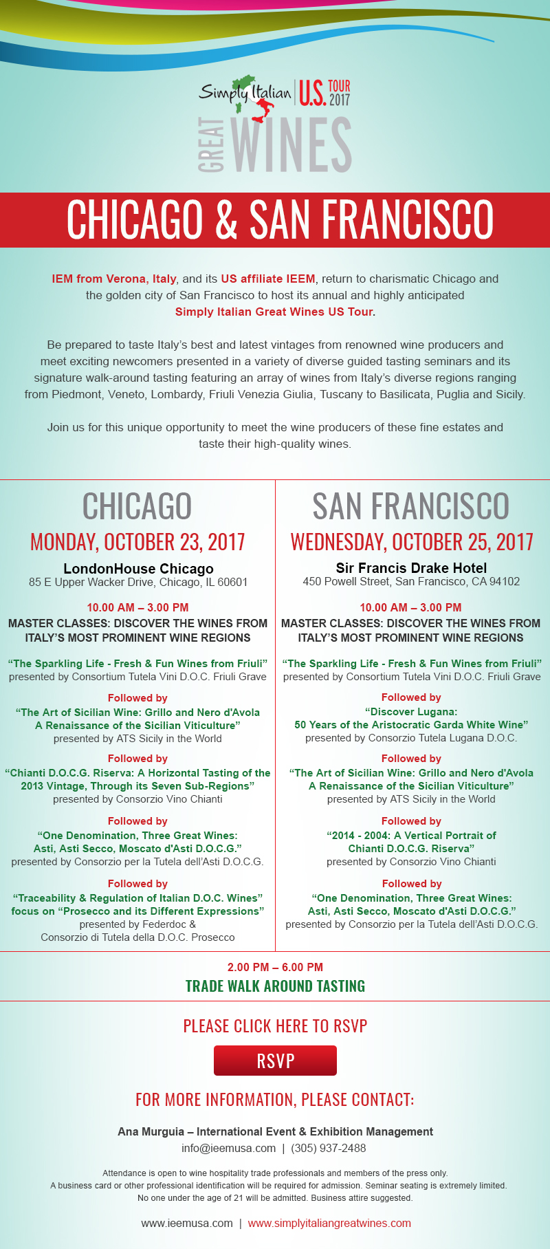 Invitation Simply Italian Great Wines US Tour 2017